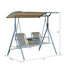 Outsunny Patio Furniture Assembly by Outsunny 2 Person Covered Patio Swing W Pivot Table U0026 Storage