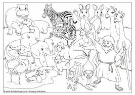Noahs Ark Animals Colouring Page