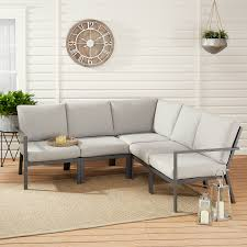 Mainstays Neste Ridge 5-Piece Patio Sectional Set With Gray ... Mainstays Cambridge Park Wicker Outdoor Rocking Chair Folding Plush Saucer Multiple Colors Walmartcom Mahogany With Sling Back Natural 6 Foldinhalf Table Black Patio White Solid Wood Slat Brown Shop All Chairs