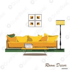 stock vector innenarchitektur illustration modernes gelbes wohnzimmer trendigen stil haus dekoration möbel lounge sofa kissen tisch kaffeele