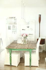 Country Dining Room Chairs Set Up Style Green Accents White Flooring Wood Look French Table