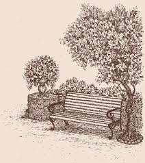 Vector drawing Park bench under a blooming lilac bush — Stock