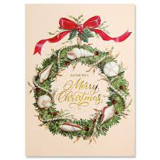 Shell Wreath UltraDeluxe Christmas Cards