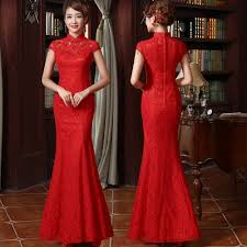 traditional chinese red bridal lace cheongsam wedding dresses