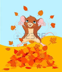 Illustration of a mice jumping in a pile of leaves