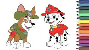 Paw Patrol Marshall Tracker Coloring Page For Kids