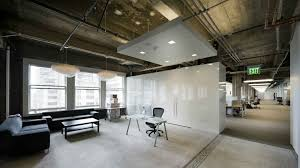 Office Cool Industrial Design Ideas Also Black Sectional Sofa And White Permanent Dividers Plus