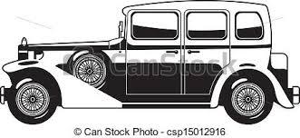 Black And White Illustration Of Vintage Car Vector Clip Art