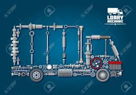100 Parts Of A Truck Mechanical Engine Rranged Into Silhouette With