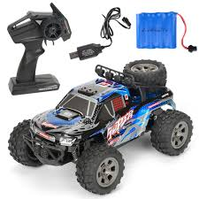 100 Monster Truck Remote Control 20kmh 118 24G Car RC Electric OffRoad Vehicle Blue