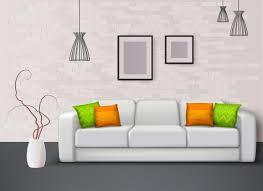 sofa des weißen leders mit fantastischen grün orangeen