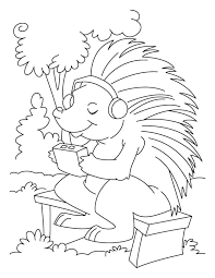 Porcupine Listening To Music Coloring Pages