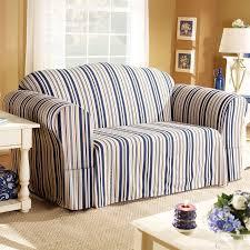 Cindy Crawford Denim Sofa Cover by Sure Fit Indigo Blue Stripe Sofa Slipcover Box Cushion