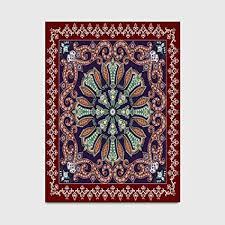 de großer teppich böhmisches rotbraunes dunkelblaues