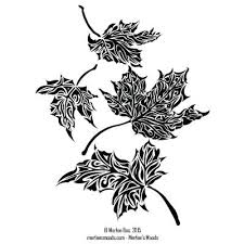 New black and white ink drawing of falling maple leaves This print is available on Etsy