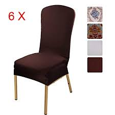 ISWEES Stretchy Chair Slipcovers 6 Pieces Removable Washable Dining Room Stool Office Short Covers
