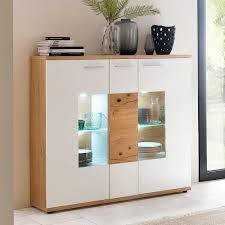 esszimmer highboard croadiva in weiß eiche furniert mit glas