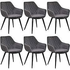 woltu esszimmerstühle bh153dgr 6 6er set küchenstühle wohnzimmerstuhl polsterstuhl design stuhl mit armlehne dunkelgrau gestell aus stahl samt