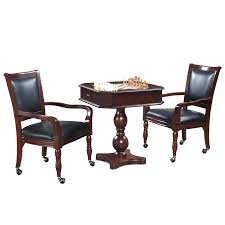 Game Table And Chairs Round Leather With Casters