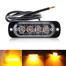 100 Strobe Light For Trucks Amber 4 LED Car Truck Emergency Beacon Warning Hazard Flash