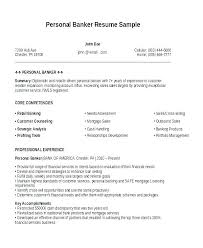 Banker Resume Objective For Personal Resumes