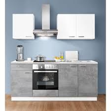küchenzeile weiß betonoptik hell 200 cm