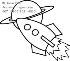 Clipart Illustration Of A Rocket In Outer Space Traveling To Planet