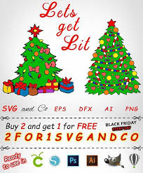 Christmas Tree Clipart Set Svg File Toy Instant Lets Inspiration Of X Mas Sales