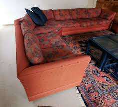 sofa mit hocker und sessel l form orange blau