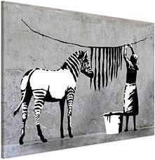 kunstbruder wandbilder bilder für wohnzimmer banksy zebra washing leinwandbild wandbild für zuhause 2 cm leinwanddrucke fertig zum aufhängen div
