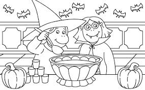 Halloween Day Two Childrens Dress Up For Costume Coloring Page