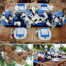 Blue And White Wedding Table Decor Flowers Twilight