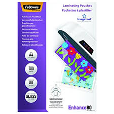 plastifier bureau en gros fellowes 5306114 pochettes de plastification a4 80 microns par 100