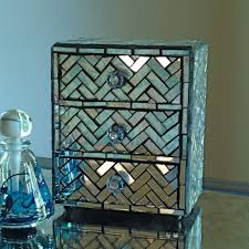Mirrored Jewelry Box Armoire by Mirror Mosaic Jewelry Box With Zig Zag Pattern