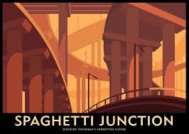 Spaghetti Junction Art Deco Style Poster