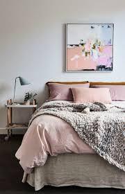 Dusty Rose Bedroom With Cozy Chunky Knit Throw Love The Abstract Art Piece Above