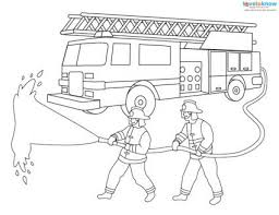 Fire Fighters With Hose Engine Coloring Page Firefighters Source