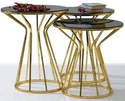 casa padrino designer beistelltisch set gold grau 3 metall tische mit glasplatte wohnzimmer möbel luxus kollektion