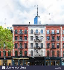 100 Duane Nyc Old Brick Buildings On Street In Tribeca Contrast Against