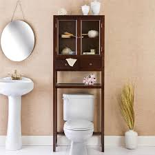 Teak Bathroom Shelving Unit by Brown Varnished Teak Wood Above The Toilet Cabinet With Clear