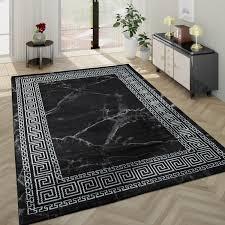wohnzimmer teppich kurzflor mit marmor optik und bordüre in grau schwarz