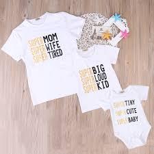 Super Famiy Camiseta A Juego Mamá Camiseta Para Niños Bebé Carta Body Recién Nacido Bebés Bebés Niños Niñas Ropa Trajes