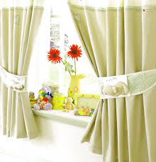 Kitchen Curtain Ideas For Large Windows by Great Yellow Curtain For Kitchen And Flower Decorated In White
