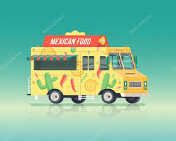 Vector Colorful Flat Mexican Food Truck. Street Cuisine. Vintage ...
