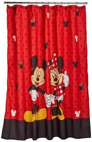 red disney shower curtain full of mickey minnie love