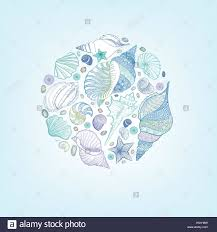100 Sea Shell Design Shell Sketching Pattern Summer Holiday Marine Background Stock