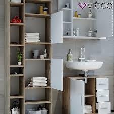 vicco badmöbel set ilias weiß eiche bad spiegel kommode unterschrank badschrank