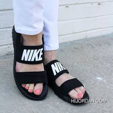 Women Shoes Nike Tanjun Sandal Black White Letters Ninja Beach Free Shipping