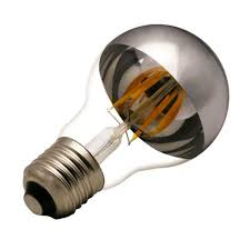 a19 led filament light bulb with half silver mirror led filament
