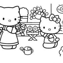 Hello Kitty With Her Mother Mummy Coloring Page